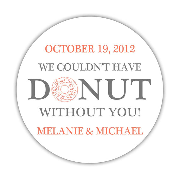 "Donut favor stickers - 1.5"" circle = 30 labels per sheet / Gray/Coral - Dazzling Daisies"