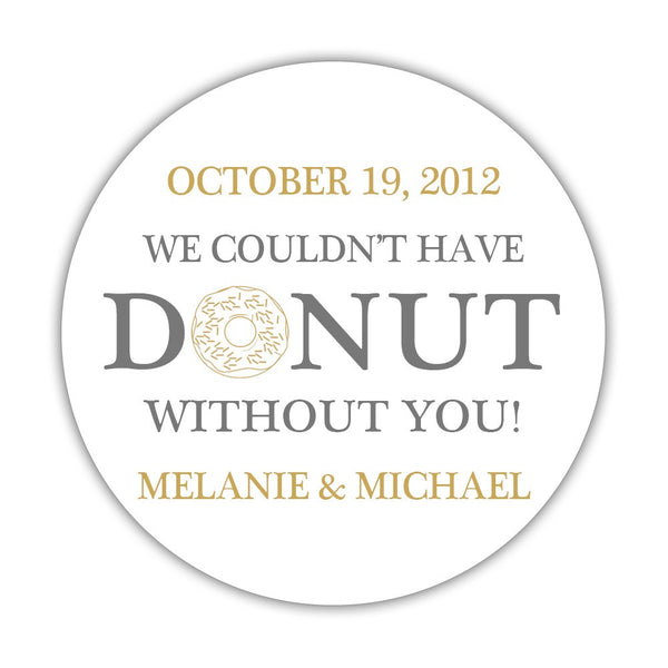 "Donut favor stickers - 1.5"" circle = 30 labels per sheet / Gray/Gold - Dazzling Daisies"