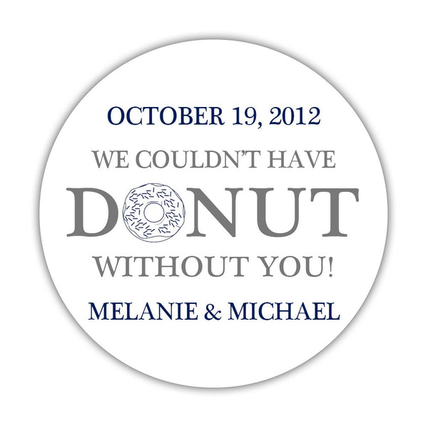 "Donut favor stickers - 1.5"" circle = 30 labels per sheet / Gray/Navy - Dazzling Daisies"
