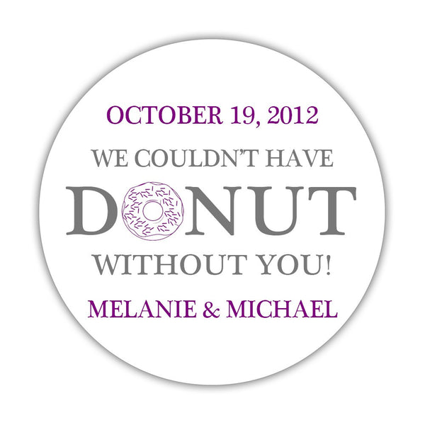 "Donut favor stickers - 1.5"" circle = 30 labels per sheet / Gray/Purple - Dazzling Daisies"