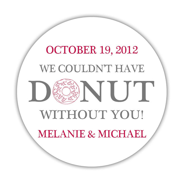 "Donut favor stickers - 1.5"" circle = 30 labels per sheet / Gray/Raspberry - Dazzling Daisies"