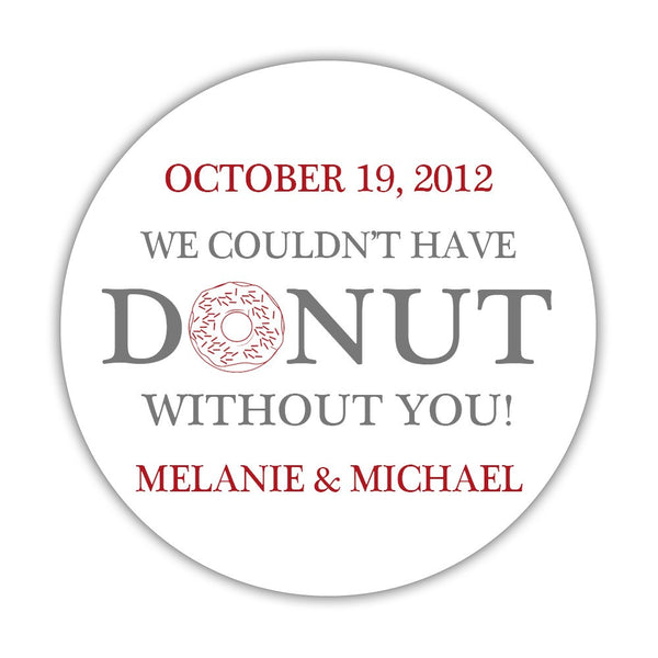 "Donut favor stickers - 1.5"" circle = 30 labels per sheet / Gray/Indian red - Dazzling Daisies"