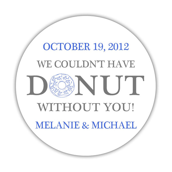 "Donut favor stickers - 1.5"" circle = 30 labels per sheet / Gray/Royal blue - Dazzling Daisies"