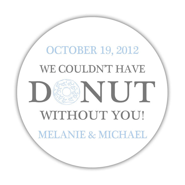 "Donut favor stickers - 1.5"" circle = 30 labels per sheet / Gray/Steel blue - Dazzling Daisies"