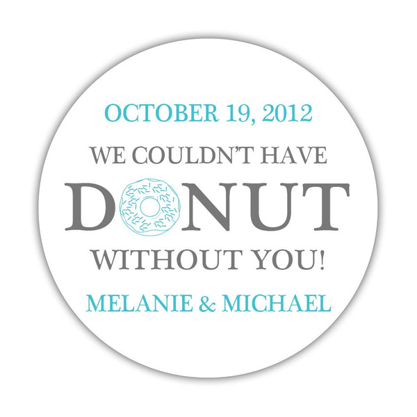 "Donut favor stickers - 1.5"" circle = 30 labels per sheet / Gray/Turquoise - Dazzling Daisies"