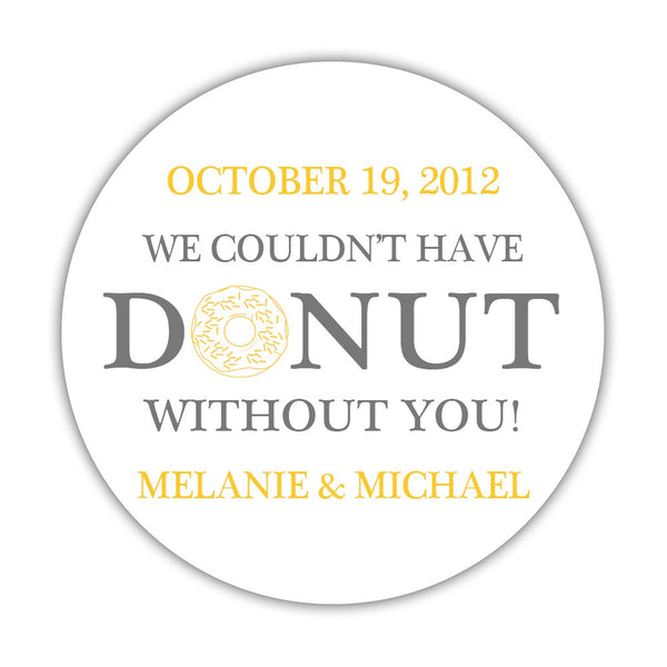 "Donut favor stickers - 1.5"" circle = 30 labels per sheet / Gray/Yellow - Dazzling Daisies"