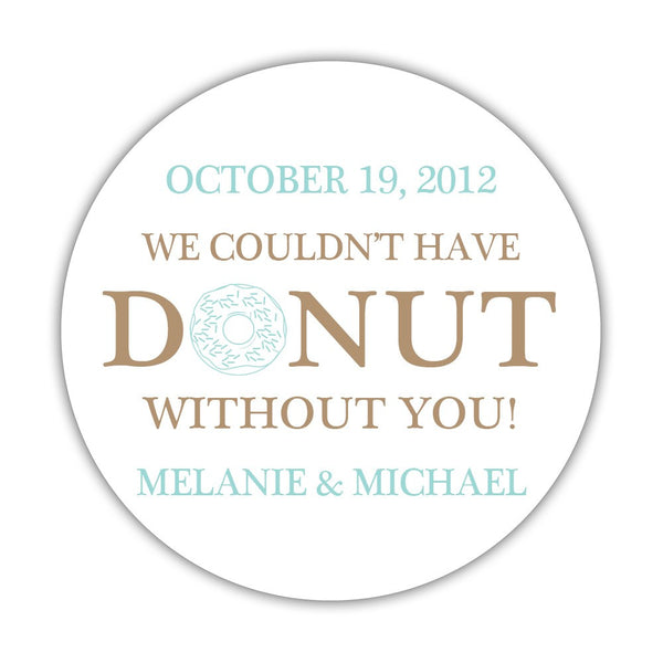 "Donut favor stickers - 1.5"" circle = 30 labels per sheet / Sand/Aquamarine - Dazzling Daisies"