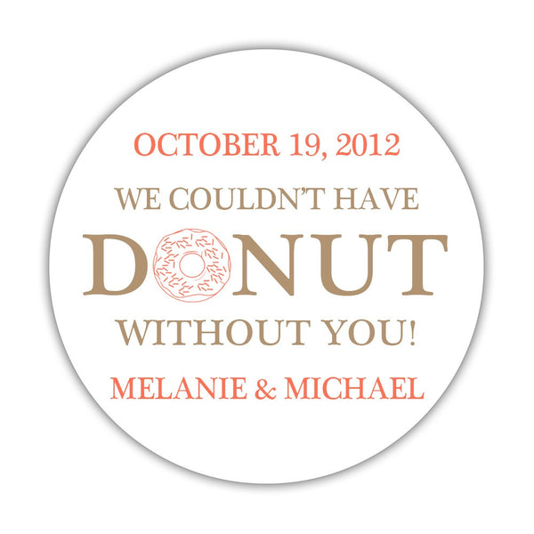"Donut favor stickers - 1.5"" circle = 30 labels per sheet / Sand/Coral - Dazzling Daisies"