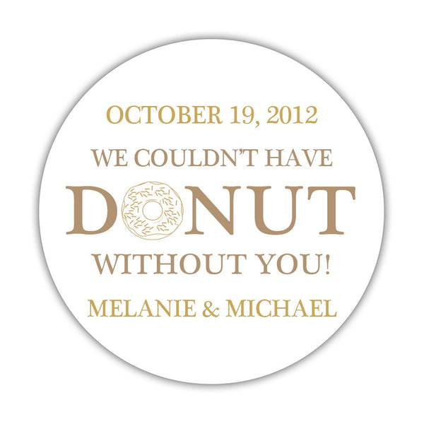 "Donut favor stickers - 1.5"" circle = 30 labels per sheet / Sand/Gold - Dazzling Daisies"