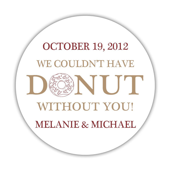 "Donut favor stickers - 1.5"" circle = 30 labels per sheet / Sand/Maroon - Dazzling Daisies"