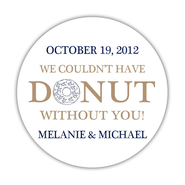 "Donut favor stickers - 1.5"" circle = 30 labels per sheet / Sand/Navy - Dazzling Daisies"