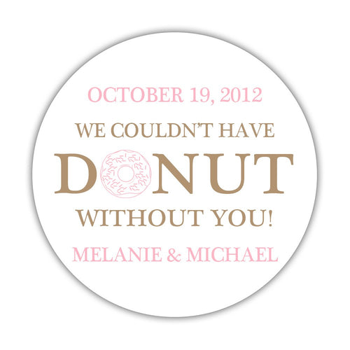 "Donut favor stickers - 1.5"" circle = 30 labels per sheet / Sand/Pink - Dazzling Daisies"
