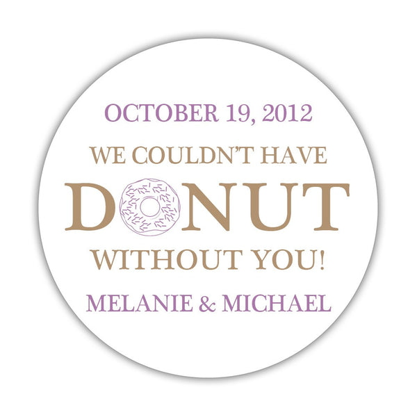 "Donut favor stickers - 1.5"" circle = 30 labels per sheet / Sand/Plum - Dazzling Daisies"