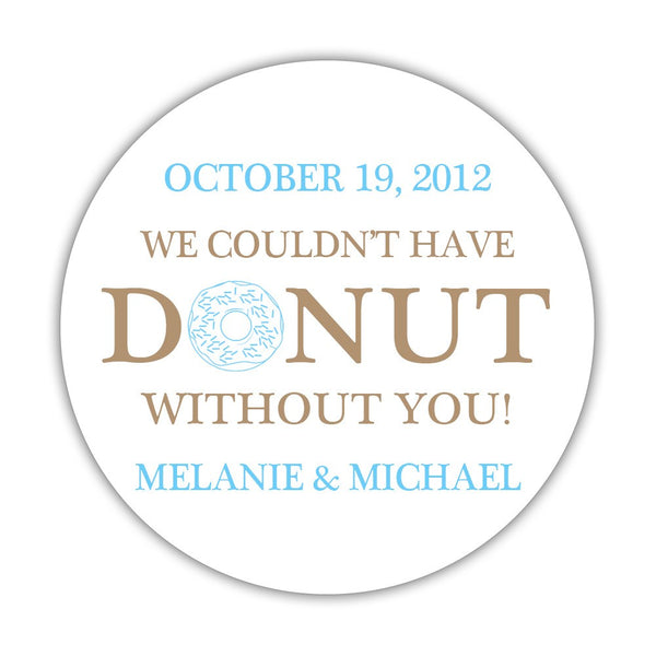 "Donut favor stickers - 1.5"" circle = 30 labels per sheet / Sand/Sky blue - Dazzling Daisies"