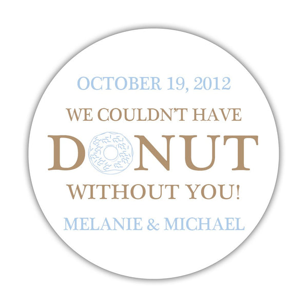 "Donut favor stickers - 1.5"" circle = 30 labels per sheet / Sand/Steel blue - Dazzling Daisies"
