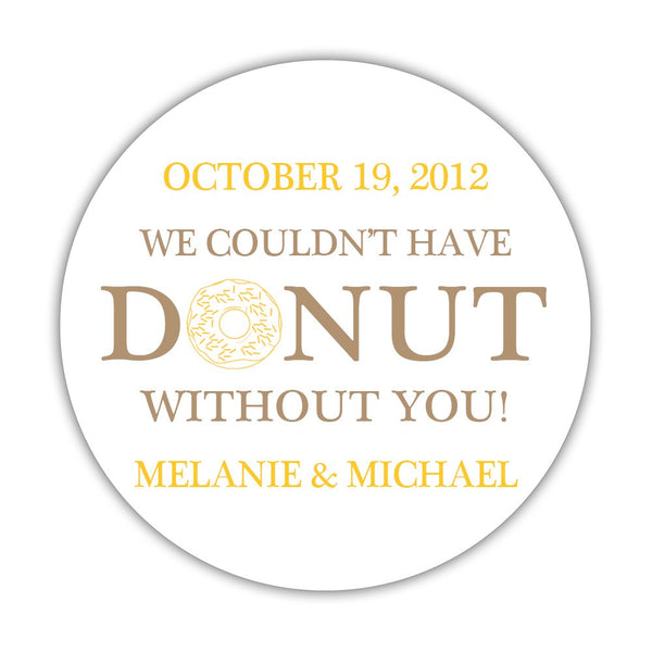 "Donut favor stickers - 1.5"" circle = 30 labels per sheet / Sand/Yellow - Dazzling Daisies"