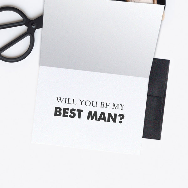 Groomsman card - Best man card 'Dude, suit up' - Best man / Black - Dazzling Daisies