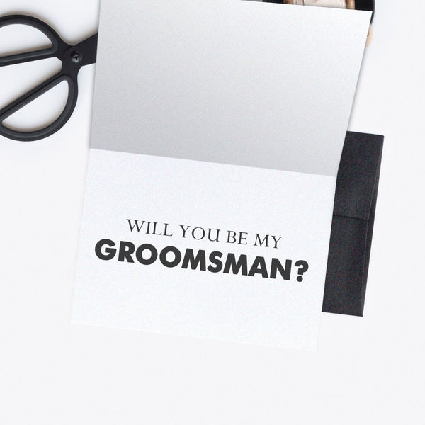 Groomsman card - Best man card 'Dude, suit up' - Groomsman / Black - Dazzling Daisies