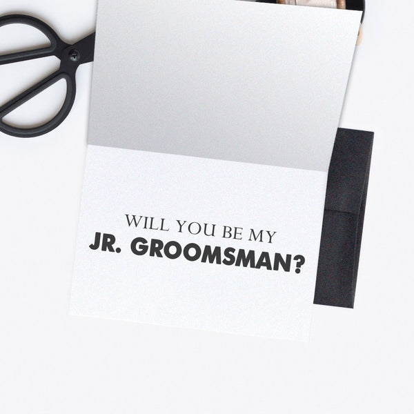 Groomsman card - Best man card 'Dude, suit up' - Jr. Groomsman / Black - Dazzling Daisies