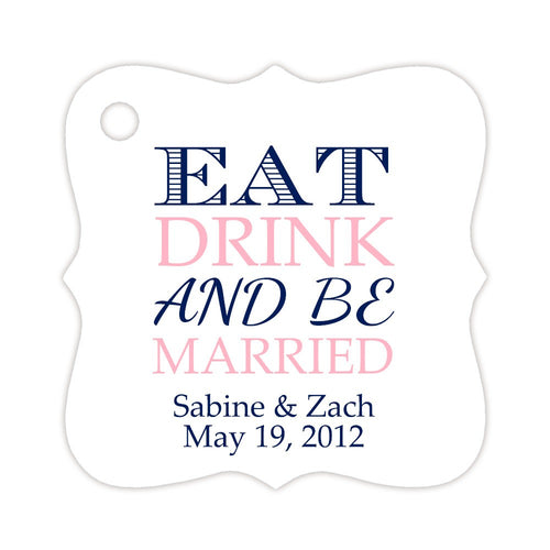 Eat drink and be married tags (set of 15) - Navy/Pink - Dazzling Daisies
