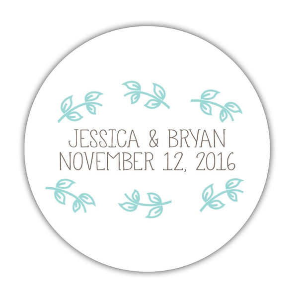 "Favor stickers 'Little Leaves' - 1.5"" circle = 30 labels per sheet / Aquamarine - Dazzling Daisies"