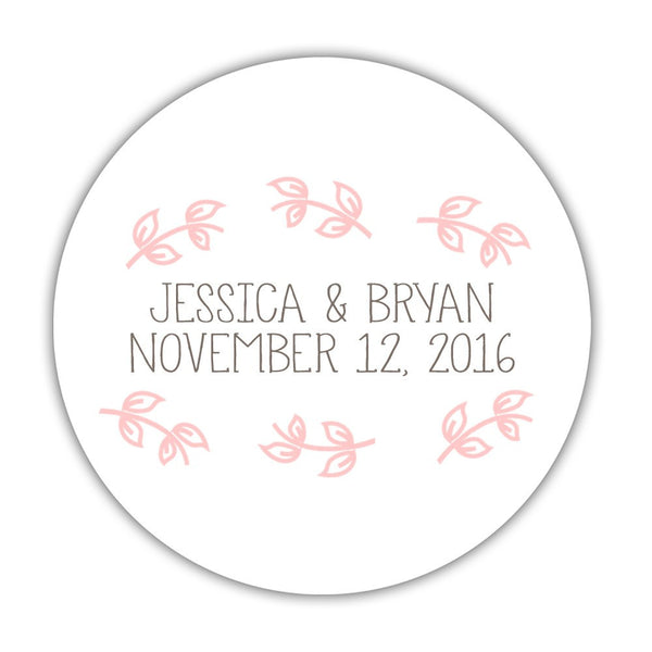 "Favor stickers 'Little Leaves' - 1.5"" circle = 30 labels per sheet / Blush - Dazzling Daisies"
