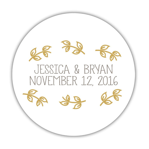 "Favor stickers 'Little Leaves' - 1.5"" circle = 30 labels per sheet / Gold - Dazzling Daisies"