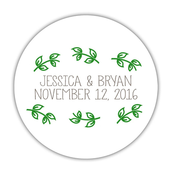 "Favor stickers 'Little Leaves' - 1.5"" circle = 30 labels per sheet / Green - Dazzling Daisies"