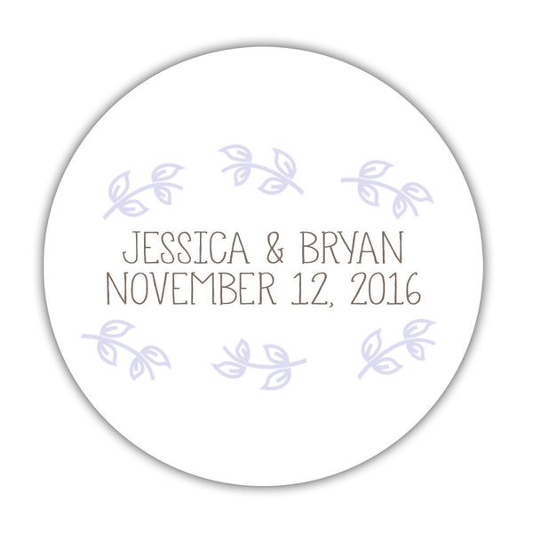 "Favor stickers 'Little Leaves' - 1.5"" circle = 30 labels per sheet / Lavender - Dazzling Daisies"