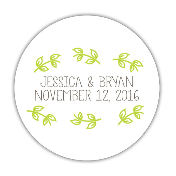 "Favor stickers 'Little Leaves' - 1.5"" circle = 30 labels per sheet / Lime - Dazzling Daisies"