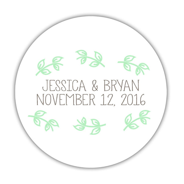"Favor stickers 'Little Leaves' - 1.5"" circle = 30 labels per sheet / Mint - Dazzling Daisies"