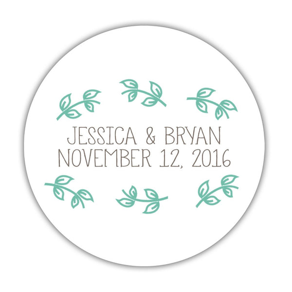 "Favor stickers 'Little Leaves' - 1.5"" circle = 30 labels per sheet / Ocean - Dazzling Daisies"
