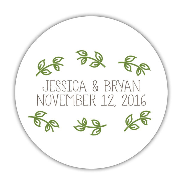 "Favor stickers 'Little Leaves' - 1.5"" circle = 30 labels per sheet / Olive - Dazzling Daisies"