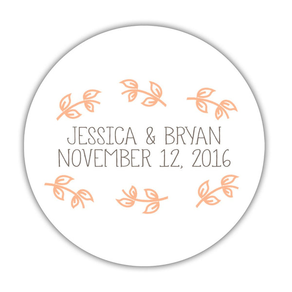 "Favor stickers 'Little Leaves' - 1.5"" circle = 30 labels per sheet / Peach - Dazzling Daisies"