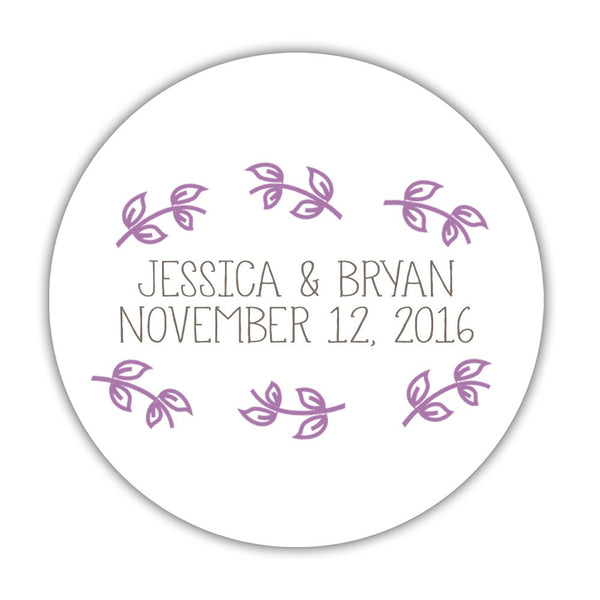 "Favor stickers 'Little Leaves' - 1.5"" circle = 30 labels per sheet / Plum - Dazzling Daisies"