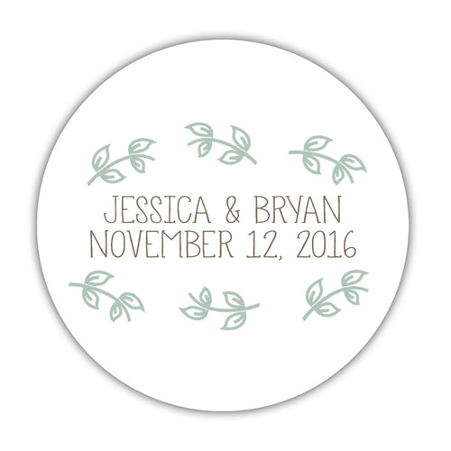 "Favor stickers leaves - 1.5"" circle = 30 labels per sheet / Sage - Dazzling Daisies"