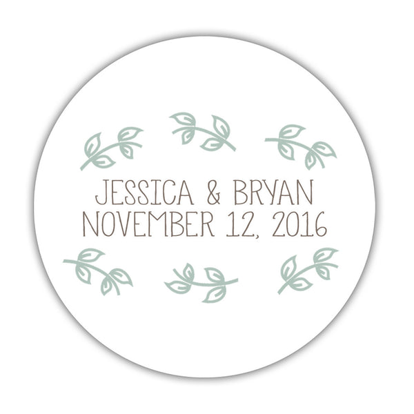 "Favor stickers 'Little Leaves' - 1.5"" circle = 30 labels per sheet / Sage - Dazzling Daisies"