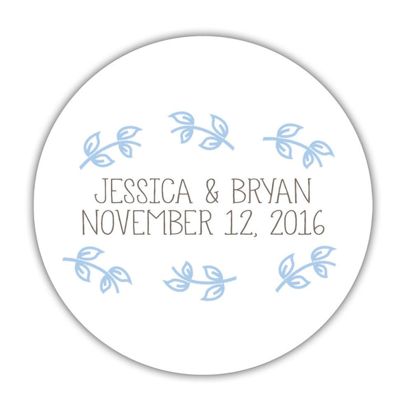 "Favor stickers 'Little Leaves' - 1.5"" circle = 30 labels per sheet / Steel blue - Dazzling Daisies"