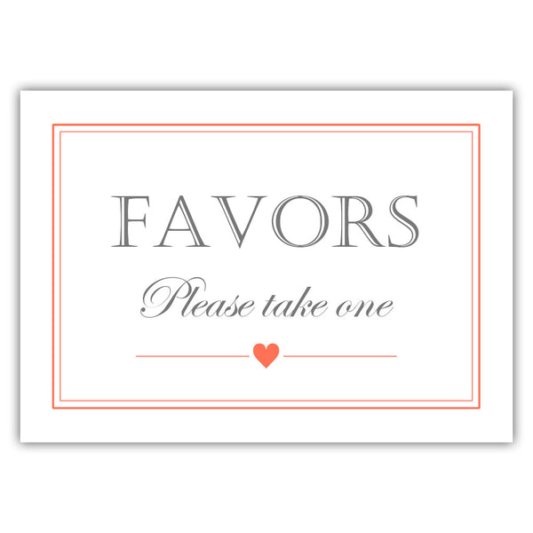 Favors sign - Coral - Dazzling Daisies