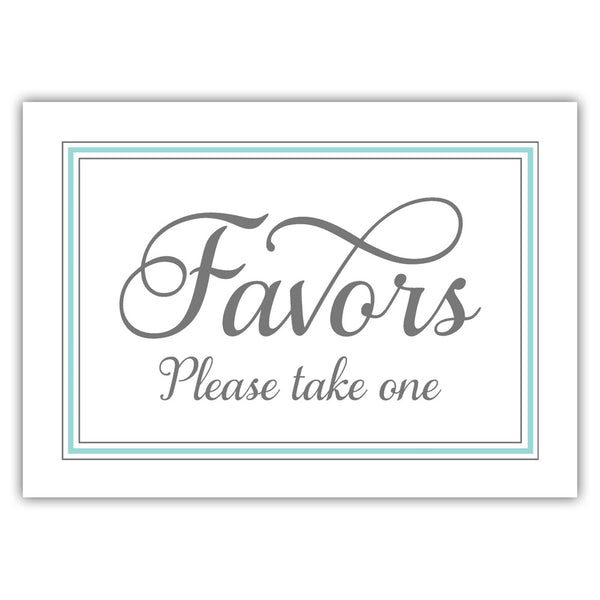 Favors sign 'Elevated Elegance' - Aquamarine - Dazzling Daisies