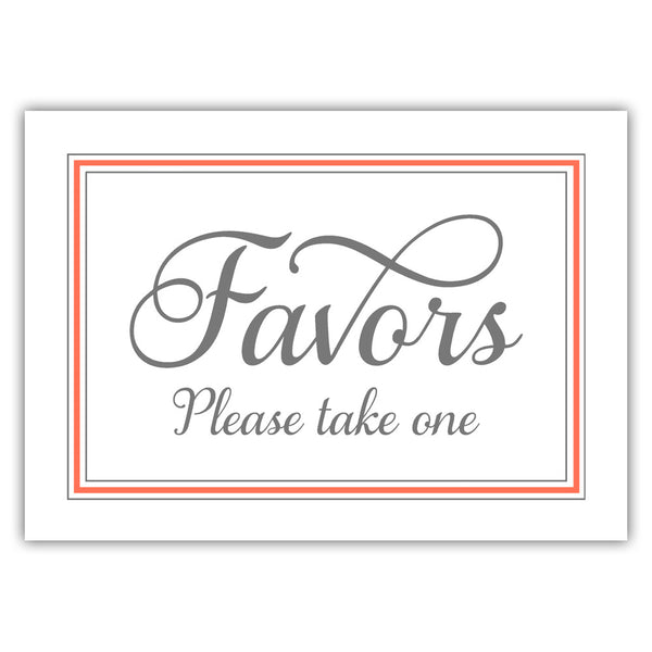 Favors sign 'Elevated Elegance' - Coral - Dazzling Daisies
