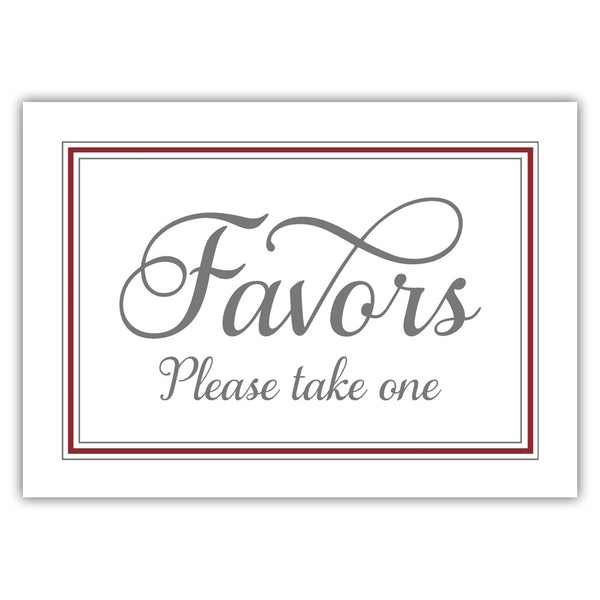 Favors sign 'Elevated Elegance' - Maroon - Dazzling Daisies