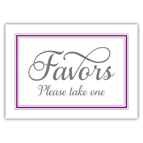 Favors sign 'Elevated Elegance' - Purple - Dazzling Daisies