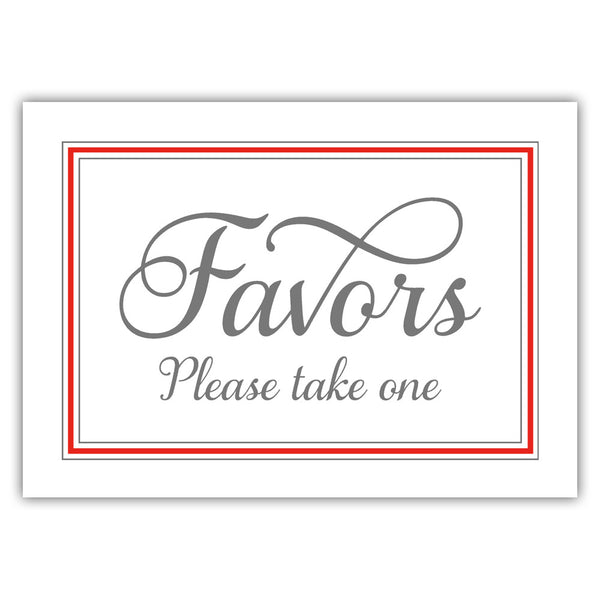 Favors sign 'Elevated Elegance' - Red - Dazzling Daisies