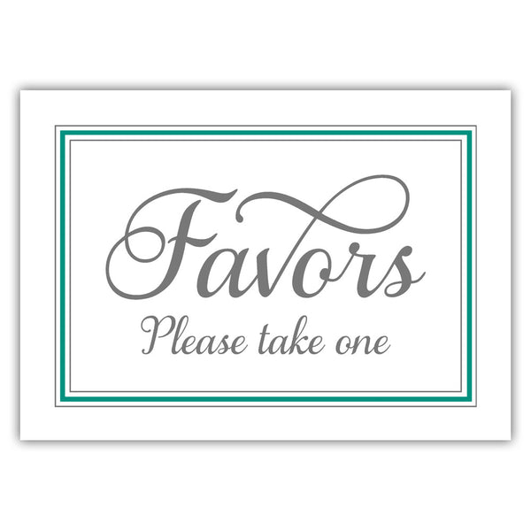 Favors sign 'Elevated Elegance' - Teal - Dazzling Daisies