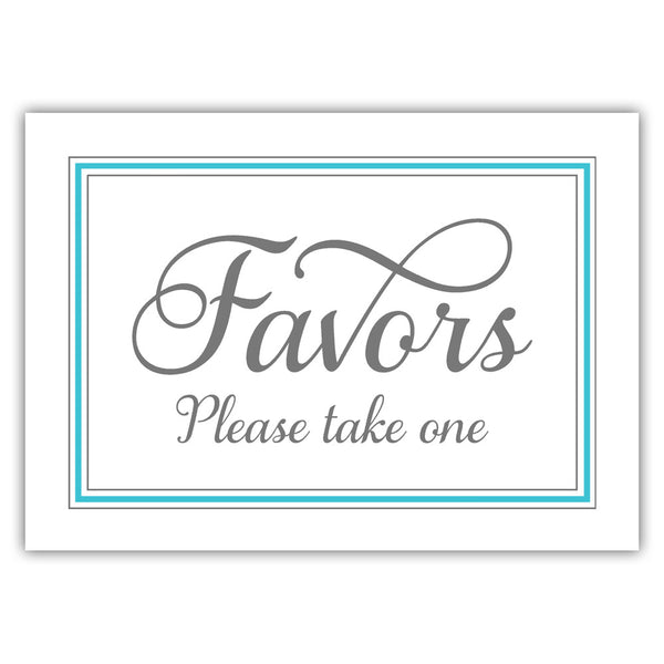 Favors sign 'Elevated Elegance' - Turquoise - Dazzling Daisies