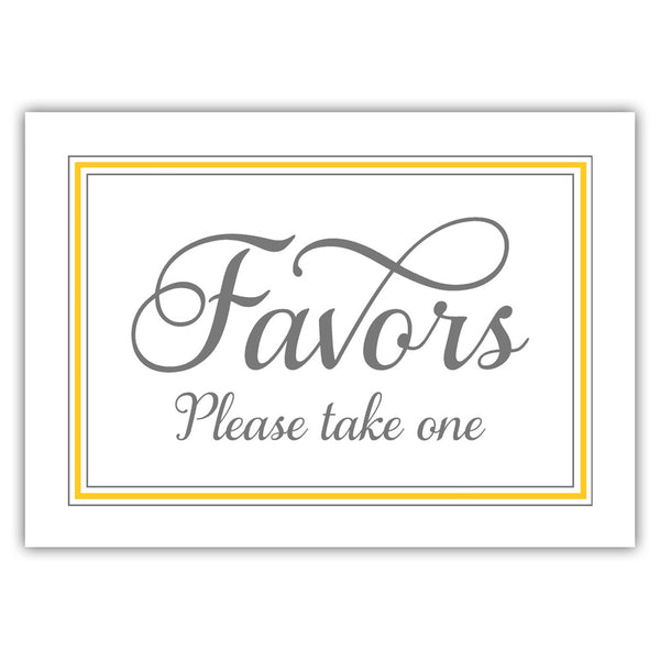 Favors sign 'Elevated Elegance' - Yellow - Dazzling Daisies