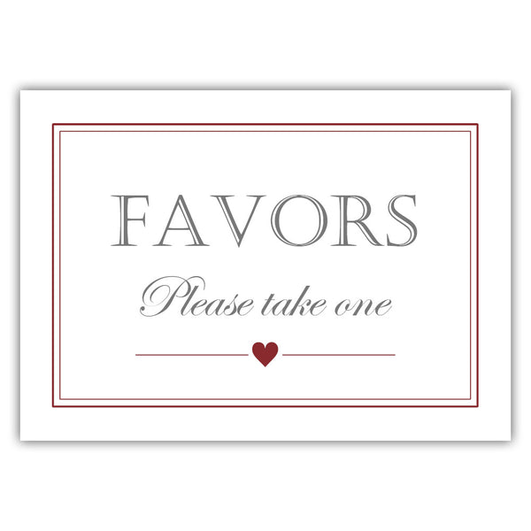Favors sign - Maroon - Dazzling Daisies