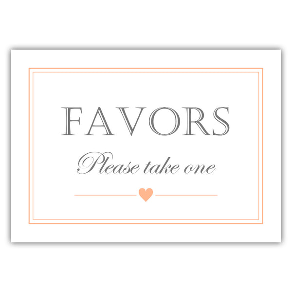 Favors sign - Peach - Dazzling Daisies