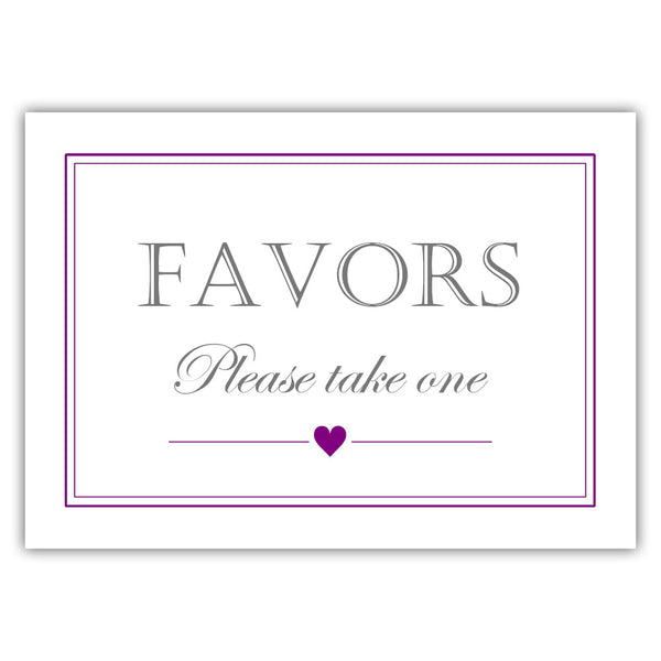 Favors sign - Purple - Dazzling Daisies